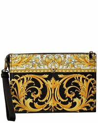 Versace Large Barocco Leather Clutch Women#x27;s Black $869.99