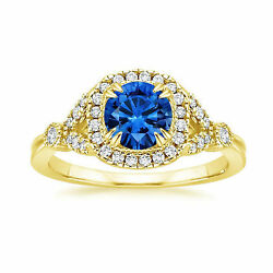 1.60 Carat Real Diamond Blue Sapphire Rings For Her 14k Yellow Gold Size 6 7 8 9