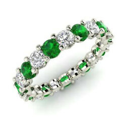 2.03 Ct Round Real Diamond Green Emerald Bands 14k Solid White Gold Size 5 6 7 8