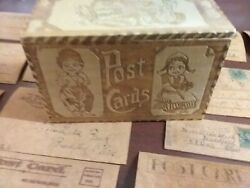 16 Antique Leather Post Cards And Wooden Keeper Box 9x4x3 1906-07 Darke Co Oh