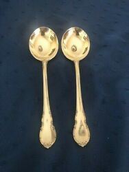 Lunt Modern Victorian C1941 Sterling Two Cream Soup Spoons 6 1/4