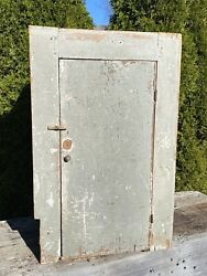 Antique 19th C. Wall Cupboard 3 Shelves, Distressed Old Paint, 36h X 23.5w