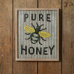 Pure Honey- Galvanized Metal Bee Sign- Rustic Country Farmhouse Decor