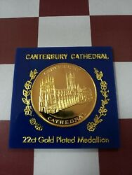 U.k. 22ct Gold Plated Medallion Canterbury Cathedral 35