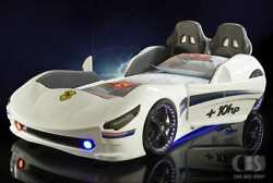 3ft Cabrio Race Car Bed -led Lights And Bluetooth- Leather Interior- Red Or White
