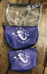 Be A Mermaid And Make Waves Cosmetic Bag Set Of 3 Makeup Cosmetic Bags $10.00