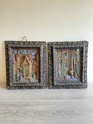 Rare Vtg 3d Relief Wax Carved Paintings German Folk Candles Textured Wall Art