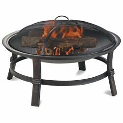Uniflame Wood Burning Steel Spacious Bowl Shape Patio Fire Pit In Brushed Copper