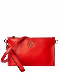 Versace Virtus Leather Clutch Women#x27;s Red $769.99
