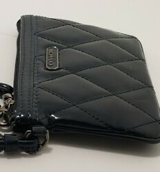 New COACH Quilted Patent Leather Navy Blue POPPY GLOSSY WRISTLET 6quot; X 4quot; $29.99