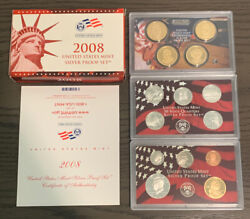 2008-s Us United States Mint Silver Proof Set - 14 Coins W/ Box And Coa Ms19