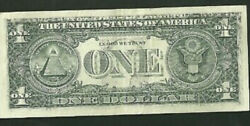 Error 1995 1 Federal Reserve Note Off Set F2b Printing Currency Paper Money