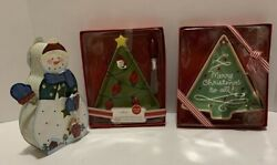Lot Of Christmas Serving Dishes/snowman Candle Holder And Cookie Cutter