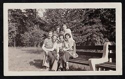 Antique Vintage Photograph Group Of Men And Women Sitting On Bench - Tennis Racket