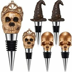 Halloween Wine Bottle Stopper With Witch And Skull Reusable Stainless Steel 6