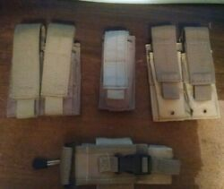 Lot Of 3 Molle 9mm/.45 Mag Pouches Plus Bonus Radio Pouch Molle Coyote/tan