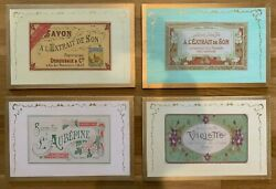 Set Of 4 French Soap Ads Savon Wood Wall Plaques 14 X 9
