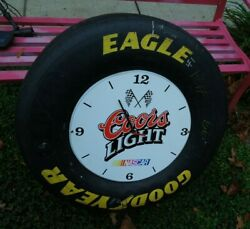 Jeff Gordon 24 Autographed Race Used Goodyear Tire Coors Light Beer Clock
