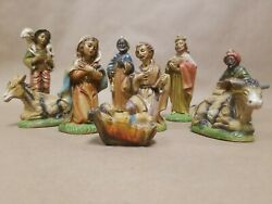Lot Of 9 Fontanini Depose Italy Nativity Set Vintage 1950s Rare 5 Inch Scale