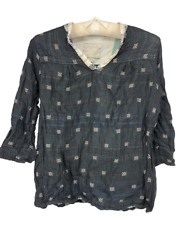 Ace amp; Jig Womens Top Blouse 3 4 Sleeves V Neck Boho Hippie Small Petite S P