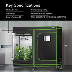 Vivosun 96x48x80 Mylar Hydroponic Grow Tent For Indoor Plant Growing 4and039x8and039