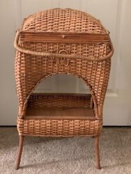Antique Wicker Sewing Basket With Legs
