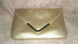 Gold Evening Bag Simulated Leather NEW Perfect Size Bridal Cocktail Party $9.95