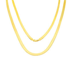 14k Yellow Gold Solid Mens 6mm High Polished Silk Herringbone Chain Necklace 24
