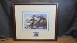 1990 Ducks Unlimited Framed Ken Bucklew Print/stamp Numbered 21/130 And Signed
