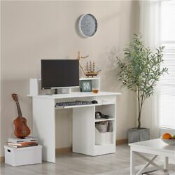 Home Office Computer Desk Workstation Wood Laptop Pc Table With Drawer Shelf
