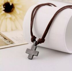 Cross Mens Jewelry Vintage Genuine Leather Rope Necklace for Women Punk Antique $6.99
