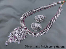 Antique Silver Plated Bollywood Indian Style Chain Necklace Jhumka Kasu Jewelry