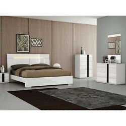 Kimberly Bed Queen, High Gloss White With Led Light On Headboard And Stainles...