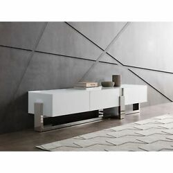 Blake Tv Unit 5mm Tempered Crystal Frosted Glass Top Matte White Polished Sta...
