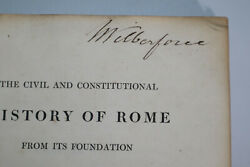 1818 Civil And Constitutional History Of Rome Bankes Signed By W Wilberforce