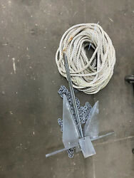 Marine Galvanized Boat Anchor With 3ft Of Chain And 100 Ft Of Rope