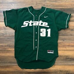 Auth Game Used Nike Ncaa Michigan State Spartans Baseball 31 Signed Jersey 48