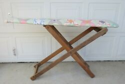 Antique Vintage Wooden Folding Ironing Board Shabby Feedsack Quilt Covered Dolls