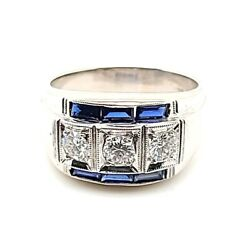 1.29ctw Sapphire And Diamond Vintage Wide Anniversary Band 14k White 50044120