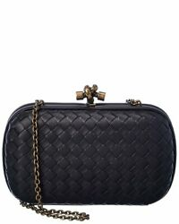Bottega Veneta Intrecciato Leather Chain Knot Clutch Women#x27;s Black $1799.99