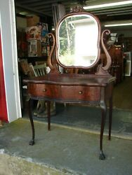Antique Oak 2 Drawer Dressing Table Vanity W/ Mirror In Harp And Claw Feet