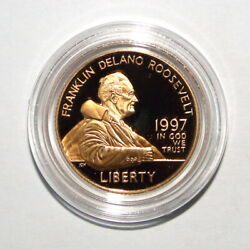 1997-w Us 5 Fdr Proof Gold Commemorative Coin In Capsule