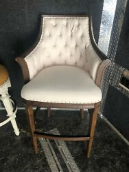 Frontgate Loxley Wood Armchair Tufted Bar Stool Kitchen 30 Seat Height Cream