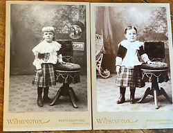 Antique Cabinet Cards, Victorian Brother And Sister, Both Wearing Similar Dresses