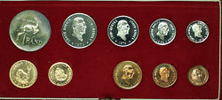 1976 South Africa 10 Coin Proof Set W/ Gold And Silver Rands In Mint Box