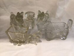 2 Scottie Dog, 1 Pug, 1 Horse And Wagon Cart Candy Containers + 1 Creamer Lot Of 5
