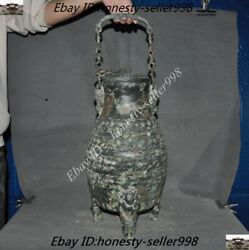 Chinese Dynasty Bronze Ware Dragon People Container Wine Vessel Pot Canister Jar