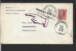 Attica,indiana. 1917 Cover,duplex Cl. Auxillary,pointing Hand,return To Writer.