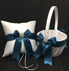 Oasis Teal Blue Bow With Crystal Ring Bearer Pillow And/or Flower Girl Basket