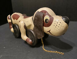 Vintage Tin Litho Pull and Go Dog Metal Toy Puppy Beagle Snoopy Friction